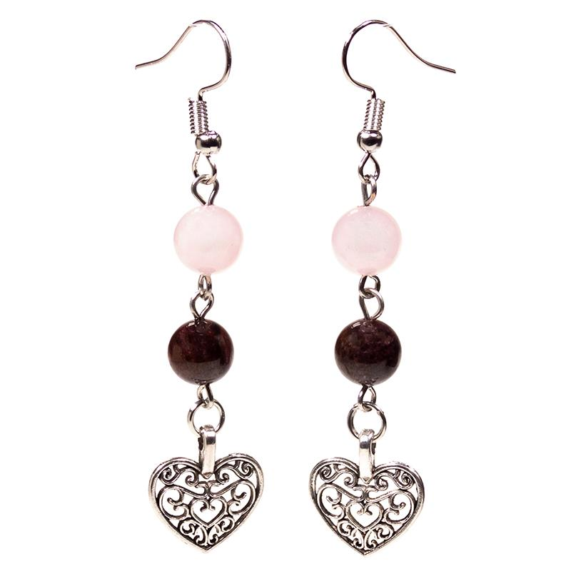 Rose Quartz Earrings With Heart