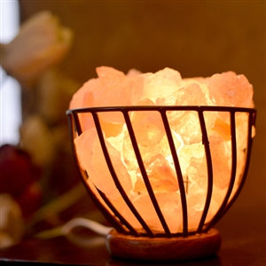 Salt Lamp in Metal Bowl