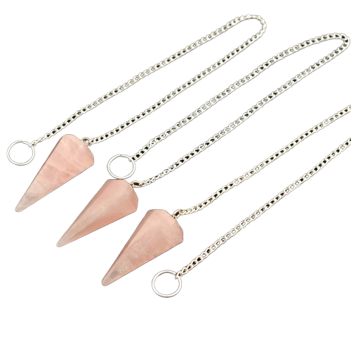 Faceted Rose Crystal Pendulum