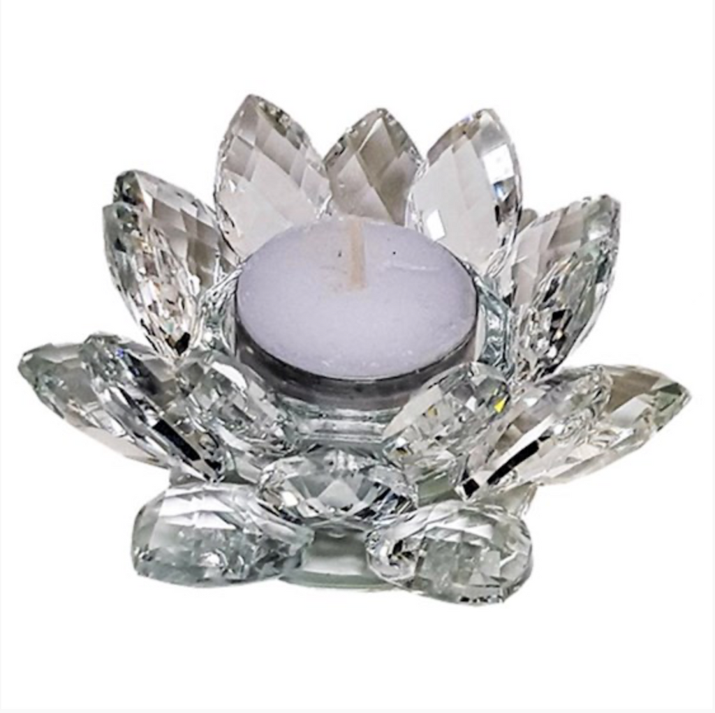 Lotus Candle Holder Crystal M - 4.5x11cm