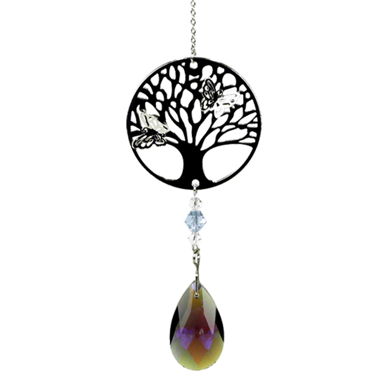 Tree Of Life Crystal With Rainbow Drop