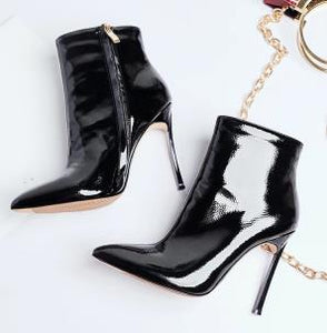 2019 Women Boots for Women 2019 Spring And Autumn Pointed Toe High Heels Short Boots Stiletto Ladies Pure Color Fashion Shoes