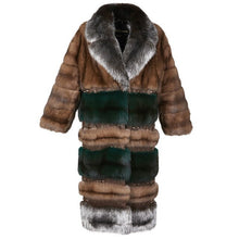 Load image into Gallery viewer, Arlenesain  custom 2019 new design Russian patchwork sable brown and green color rivet silver suit collar long coat women coat