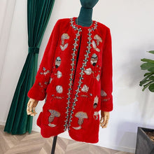Load image into Gallery viewer, LVCHI 2019 Winter Velvet Mink Fur Coat Women Chinese Red Long Sleeve O-Neck Real Fur Coat Soft Medium Beading Mink Fur Coats