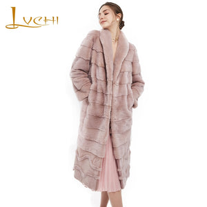 LVCHI Winter2017 Imported Crown Swan Velvet Mink Coat Women's Pleated Wave Cut Natural Fur Coats Mink Coat Slim Mink Fur Coats