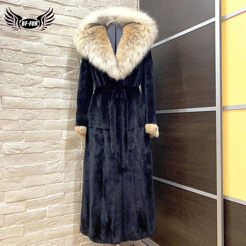 2019 BFFUR Women Real Mink Fur Coat Fox Fur Trim Natrual Mink Fur Jacket With Belt  With Genuine Fox Fur Collar Park With Fur
