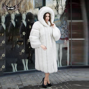 BFFUR 2019 Real Fur Coat Women Natrual White Fox Fur Jacket Long Luxurious Outfit Female Hooded Coats With Genuine Fox Fur