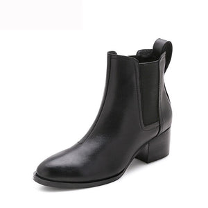 MYCOLEN 2018 Round Toe Pu Leather Chelsea Boots Women Handmade Warm Winter Ankle Boots Ladies High Heel Solid Short Boots