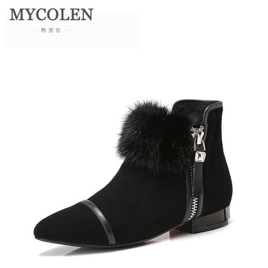 MYCOLEN Comfort Chelsea Boots Women Handmade Genuine Leather Winter Suede Boot Pointed Toe Ankle Lady Shoes Zapatilla Mujer