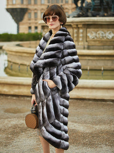 Arlenesain custom 2019 new special design chinchilla fur irregularly women trench coat