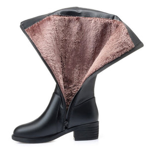 Genuine Leather Women Knee High Boots Winter Plus Velvet Wool Lady High Heel Boots Mother Shoes Woman Keep Warm Female Snow Boot
