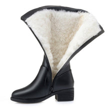 Load image into Gallery viewer, Genuine Leather Women Knee High Boots Winter Plus Velvet Wool Lady High Heel Boots Mother Shoes Woman Keep Warm Female Snow Boot