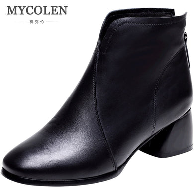 MYCOLEN Chelsea Boots Women Booties Casual Shoes Women Ankle Boots Zipper Boots Female Autumn Winter Non-Slip Ladies Shoes