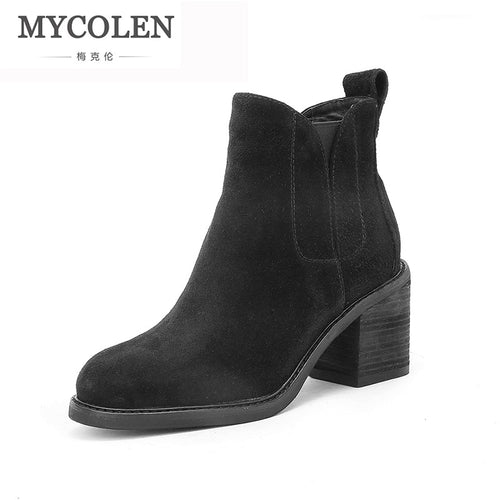MYCOLEN New Arrivals Genuine Cow Leather Ankle Comfort Chelsea Boots Women Shoes Round Toe Elastic Band Handmade 2019 Winter