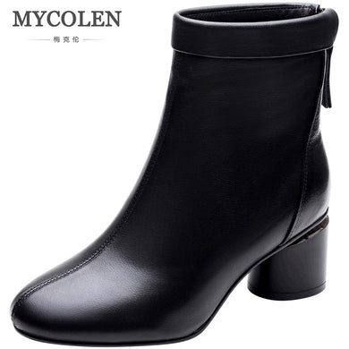 MYCOLEN 2018 New Fashion Ankle Boots For Women Round Toe Thick Bottom Ladies Shoes Cozy Chelsea Boots Black Brand Booties