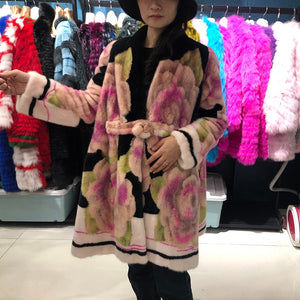 Real Mink fur coat denmark 2019 winter coat women plus size luxury flower long coat women high quality ladies jackets coats
