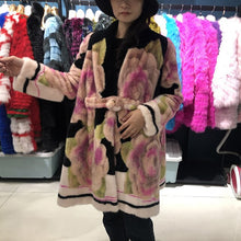 Load image into Gallery viewer, Real Mink fur coat denmark 2019 winter coat women plus size luxury flower long coat women high quality ladies jackets coats