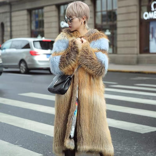 2018 new fashion winter real fox fur coat women with hood jacket plus size X-long style natural fox fur knitting clothes