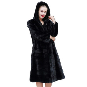110CM Genuine Mink Fur Coat Jacket With Hoody Winter Women Fur X-Long Outerwear Coats Plus Size 4XL 5XL LF9118