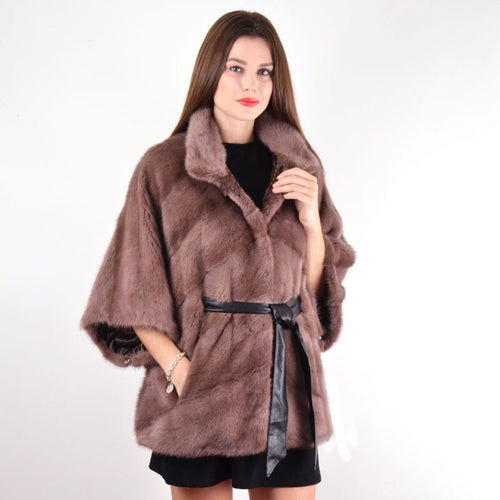 2019 BFFUR Real Mink Fur Coat For Women Half Sleeve Outfit Leather Belt Female Luxurious Real Mink Fur Coats Brown Jacket