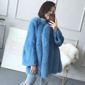 Real Fur Coat Women Clothes 2018 Autumn Winter Warm Fox Fur Coats Korean Vintage Elegant Overcoat Manteau Femme Hiver ZL499