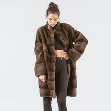 Load image into Gallery viewer, Park With Natural Fur 2019 Fashion Mink Coats For Women Genuine Plus Size Karakul Ladies Real Fur Outerwear Full Pelt Top 12.29