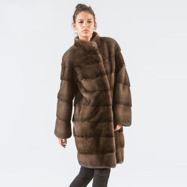 Park With Natural Fur 2019 Fashion Mink Coats For Women Genuine Plus Size Karakul Ladies Real Fur Outerwear Full Pelt Top 12.29