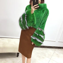 Load image into Gallery viewer, luxury brand genuine natural mink fur poncho coat with real fox fur cuff femme autumn winter shawl stand collar dhl free ship