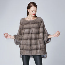 Load image into Gallery viewer, TSQSA New Luxury Real Mink Fur Coat Women Winter Elegant-Leisure Short Overcoat O-neck Female Pullover Overcoat TAC1853