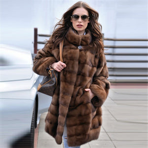 Tatyana Furclub 2019 New Fashion Brown Coat Women Winter Real Fur Coat Women Natural Mink Fur Coat With Fur Collar Full Sleeves