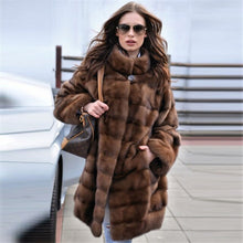 Load image into Gallery viewer, Tatyana Furclub 2019 New Fashion Brown Coat Women Winter Real Fur Coat Women Natural Mink Fur Coat With Fur Collar Full Sleeves