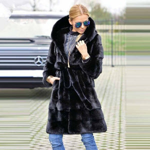 TOPFUR 2019 Winter Leather Jacket Real Fur Coat Women Natural Mink Coat With Belt Full Sleeves Medium Coat Women Mandarin Collar