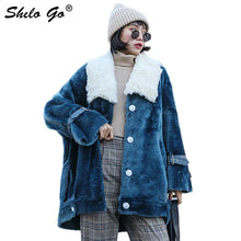 Load image into Gallery viewer, Fur Coat Blue Plus Size Turn Down Collar Drop Shoulder Warm Lamb Fur Jacket Coats Women Winter Casual Button Front Thick Outwear