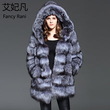 Load image into Gallery viewer, Real Fur Coat with Hood Genuine Sliver Fox Fur Women Outwear Winter Warm Natural Fur Long Jacket Female Real Fox Fur Coat Hooded