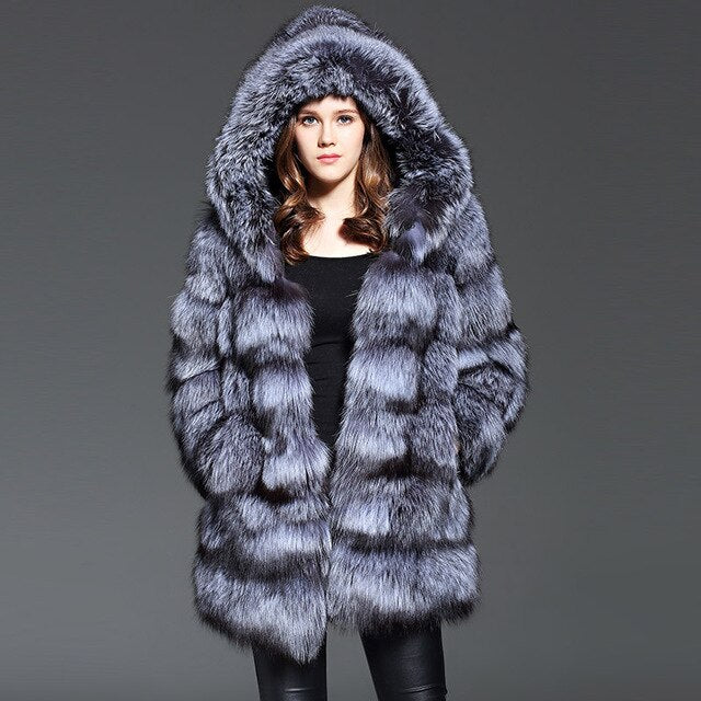 Real Fur Coat with Hood Genuine Sliver Fox Fur Women Outwear Winter Warm Natural Fur Long Jacket Female Real Fox Fur Coat Hooded