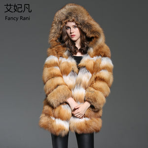 Brand New Real Fur Coat Hooded Genuine Fox Fur Women Outwear Winter Warm Natural Fur Long Jacket Female Real Red Fox Fur Coat