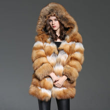 Load image into Gallery viewer, Brand New Real Fur Coat Hooded Genuine Fox Fur Women Outwear Winter Warm Natural Fur Long Jacket Female Real Red Fox Fur Coat