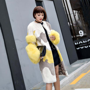LVCHI Winter Coats Women Midi Colorful Velvet Mink Fur Fox Fur Round Neck Full Pelt Coat White, Rich and Beautiful Girl Coat