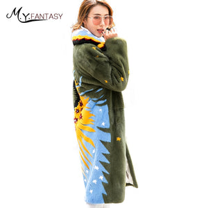 M.Y.FANSTY 2017Shaba Winter Imported Crown Velvet Mink Full Sleeve Coat Turn Down Collar Real Fur Sunflower Women's Mink Coats