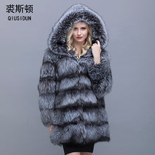 Load image into Gallery viewer, QIUSIDUN fur coat silver fox women fur hooded parka the coats of an arctic fox fur lining coat women's natural fur coat