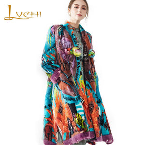 LVCHI Winter2017 Imported Swan Velvet Mink Women's Natural Real Fur Coat V-Neck Print Flower Medium Single Button Mink Fur Coats