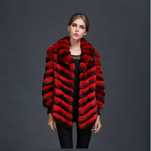 Load image into Gallery viewer, Natural Red Chinchilla Fur Ladies Party Wear,Luxury Chinese Silk Inside Women Mrs Winter Fur Coat