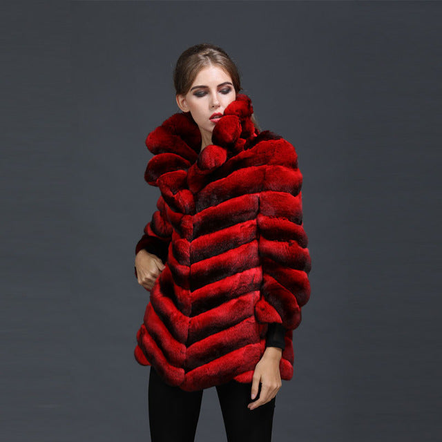 Natural Red Chinchilla Fur Ladies Party Wear,Luxury Chinese Silk Inside Women Mrs Winter Fur Coat