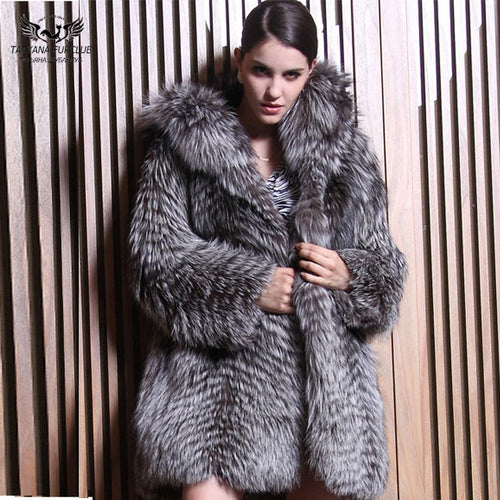 2018 New Real fur Parka Long Real Fur Coat Fashion Women Natural Silver Fox Fur Coats Female Fox Parkas Outwear Women Clothes