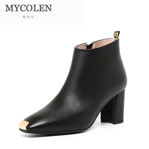 MYCOLEN New 2018 Women Leather High Heels Boots Brand Designer Ladies Antislip Female Fashion Shoes Women'S Ankle Boots