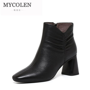 MYCOLEN Woman Chelsea Boots Luxury Designers Black Autumn Winter Ankle Boots Fashion With Genuine Leather Boots Cuissarde Femme
