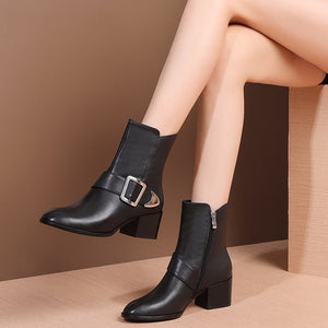 MYCOLEN New Arrivals Fashion Solid Square Heel High Heel Women Boots Winter Ladies Chelsea Boots Round Toe Women Boots Ankle Ms