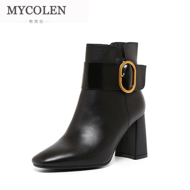 MYCOLEN 2018 New Black Leather Ankle Boots For Women Round Toe Slip On Chelsea Boots Women Fashion Street Style Boots Women