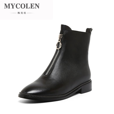 MYCOLEN 2018 New Top Brand Genuine Leather Round Toe Ankle Short Boot Fashion Shoes Handmade Chelsea Boots Botas Feminina