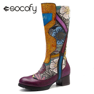 Socofy Fashion Retro Mid-calf Boots Women Genuine Leather Printed Flower Winter Boots Women Shoes Woman Zipper Block Heels Botas